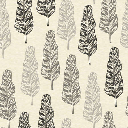 drawing trees: Vector Seamless Pattern with doodle hand drawn trees, seamless pattern in swatch menu Illustration