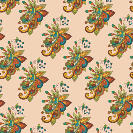 vector abstract seamless floral composition with doodle funky flowers, flowers can be used separately