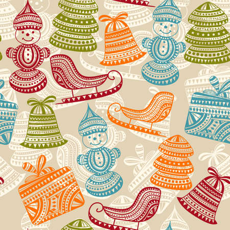vector holiday  winter pattern with sledge, snowman, boxes,  and fir trees, seamless pattern in swatch menu Vector
