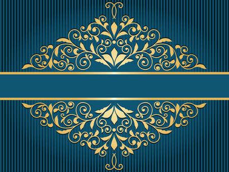 Vector Vintage-Grußkarte mit goldenem Blumenmuster auf blau gestreiften Hintergrund Standard-Bild - 25579821