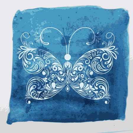 Vector white butterfly on watercolor blue background with blots and splashes, fully editable eps 10 file with transparency effects Stock Vector - 26056041