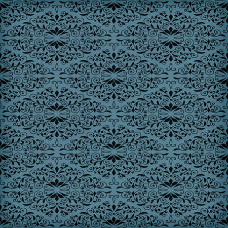 applied: Vector seamless blue  floral pattern, transparency effects and gradient mesh applied, seamless pattern in swatch menu Illustration