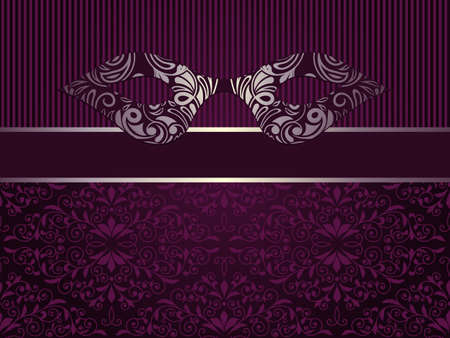 Vector carnaval invitation with mask and  floral seamless pattern, place for your text, seamless pattern in swatch menu Vector