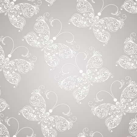 Vector seamless pattern with white paper cut butterflies, seamless pattern in swatch menu Vector