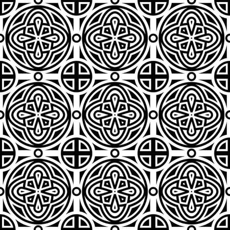 white tile: Vector seamless geometric monochrome pattern, seamless pattern in swatch menu Illustration