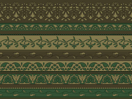 Vectorseamless floral pattern, indian style, seamless brushes included Vector