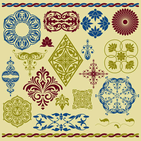 vector set of floral design elements Vector