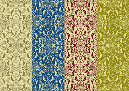 4 vector seamless patterns in eastern style, can be used as separate patterns, seamless patterns included  in swatch menu Vector