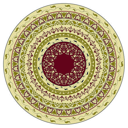 mendie: Vector circles floral pattern, indian style, can be used as plate, mandala Illustration