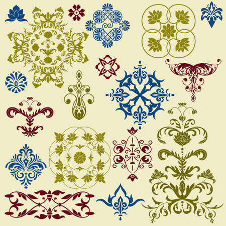 vector  vintage floral bright  design elements Vector