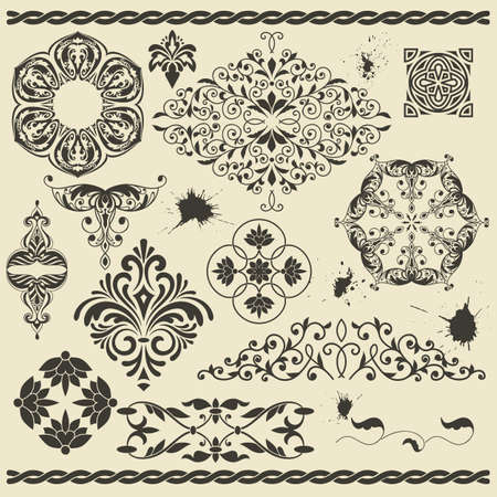 vector set of floral design elements and blots Vector