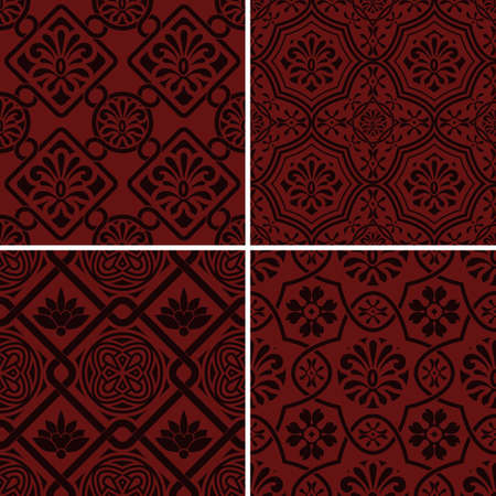 mendie: 4 Vector seamless floral patterns, indian style, seamless patterns in swatch menu