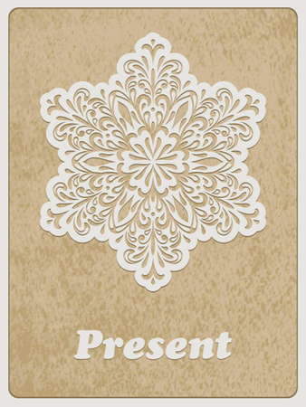 cooper: Vector Card, white paper cut flower on rough paper texture, Cooper STD standart ai font Illustration