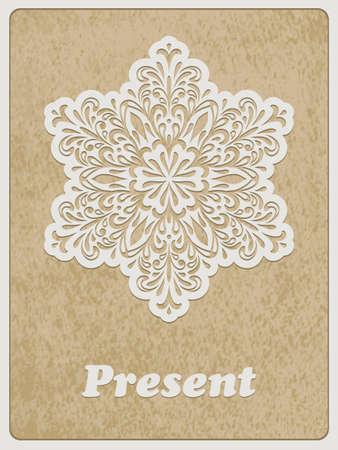 std: Vector Card, white paper cut flower on rough paper texture, Cooper STD standart ai font Illustration