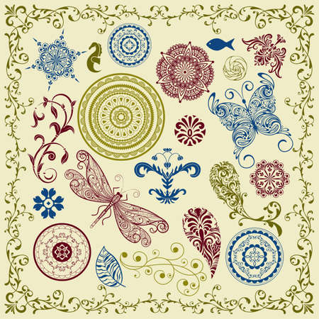 vector summer   vintage floral bright  design elements Vector