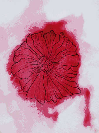Vector abstract flower on watercolor red background Vector