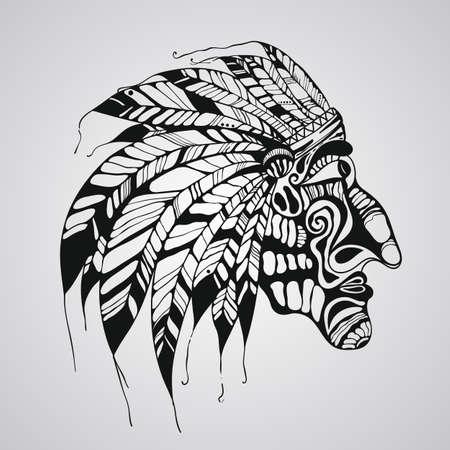 capo indiano: Vector disegnato a mano del tatuaggio, capo indiano nativo americano Vettoriali