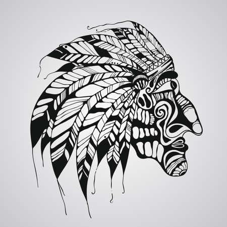 Vector hand drawn Tattoo, Native American Indian chief Vector