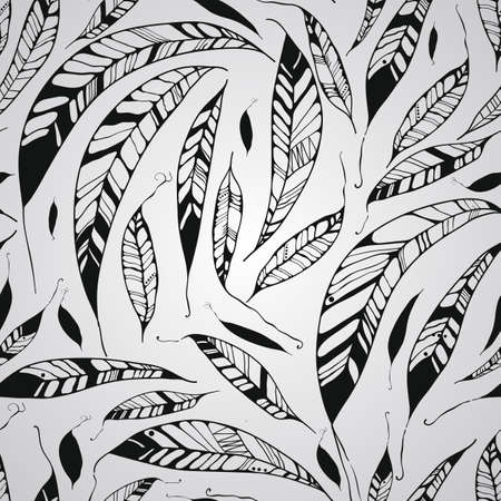 Vector Seamless Pattern with Feathers, Native American Indian Style, fully editable eps 10 style with clipping mask, seamless pattern in swatch menu