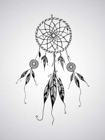 indian chief headdress: Vector Dream Catcher Mascotte, pu� essere usato per il tatuaggio