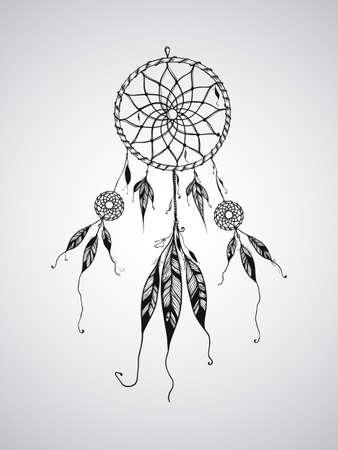 head-dress: Wektor Dream Catcher maskotki, mogą być używane do tatuażu Ilustracja