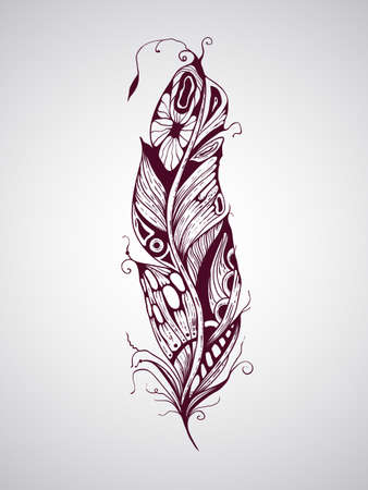 highly detailed: Vector highly detailed hand drawn tattoo feather