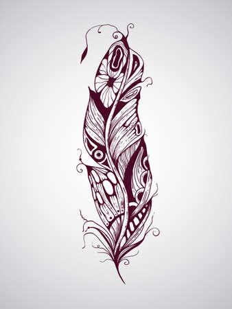indianen: Vector zeer gedetailleerde hand getrokken tatoeage veer Stock Illustratie