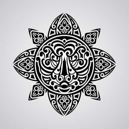 maories: dom vector con la cara de tigre en el centro, bosquejo del tatuaje, estilo del tatuaje de la Polinesia Vectores