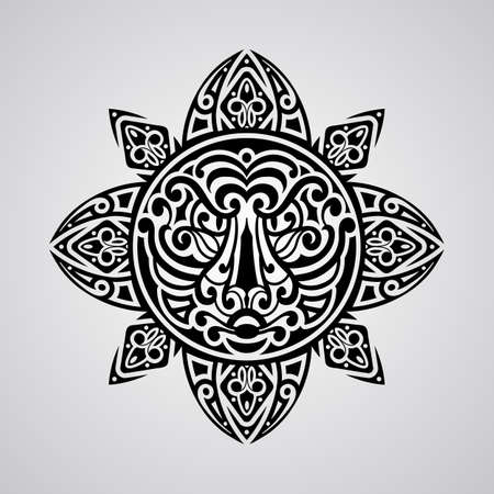hawaiian culture: vector sun with tiger face in the centre,  tattoo sketch, Polynesian tattoo style