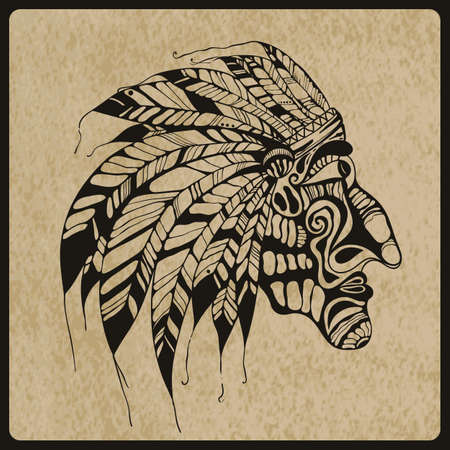 native american indian chief: Vector hand drawn Tattoo, Native American Indian chief, rough paper texture