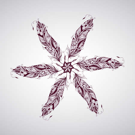 Vector composition with highly detailed hand drawn tattoo feathers Vector