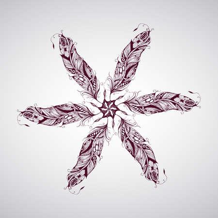aborigen: Vector de composición con la mano muy detallado plumas tatuaje dibujado Vectores