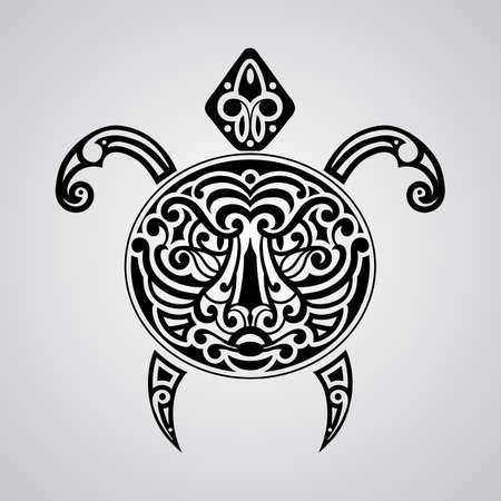 tortuga vector con la cara de tigre en su caparazón, bosquejo del tatuaje, estilo del tatuaje de la Polinesia