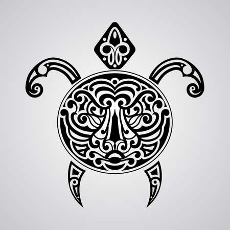 tiki: vector tortoise with tiger face on its shell,  tattoo sketch, Polynesian tattoo style