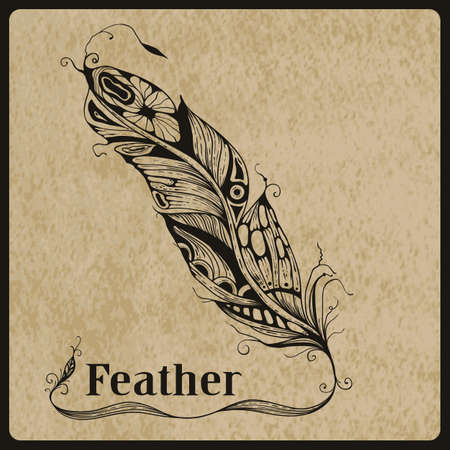 Vector highly detailed hand drawn tattoo feather on rorgh paper texture, place for your text, AI standart font Birch std Vector