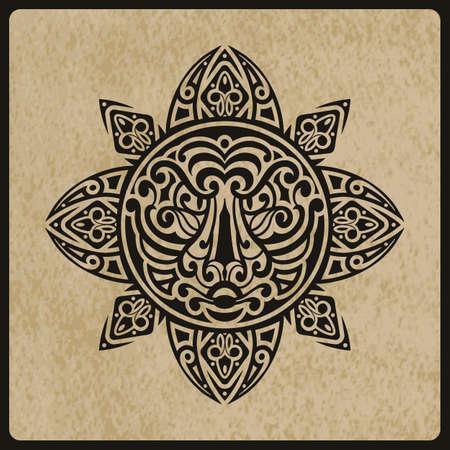 maories: dom vector con la cara de tigre en el centro de la textura del papel rugoso, boceto del tatuaje, estilo del tatuaje de la Polinesia
