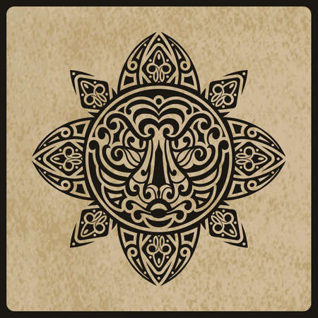 vector sun with tiger face in the centre on rough paper texture,  tattoo sketch, Polynesian tattoo style Illustration