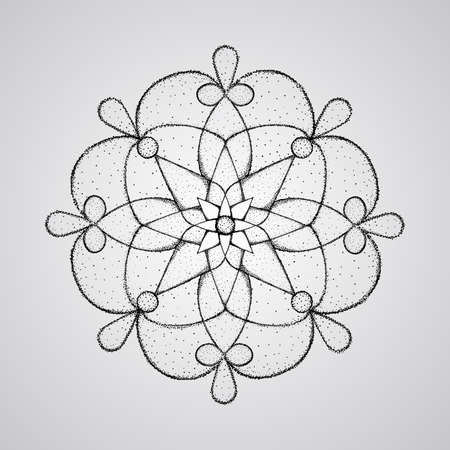 vector Hand-drawn mandala,  dotwork tattoo style Vector