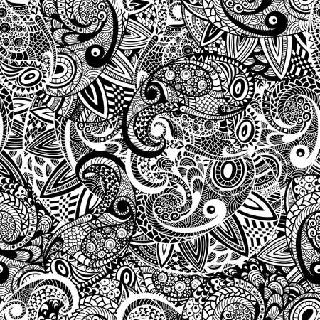 Vector Seamless Paisley Doodle Pattern, fully editable eps 10 file with clippung mask and seamless pattern in swatch menu Vector
