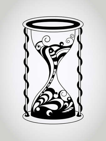 Vector Hourglass, Tattoo Style, Black Vector