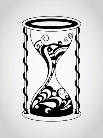 hourglass: Vector Hourglass, Tattoo Style, Black