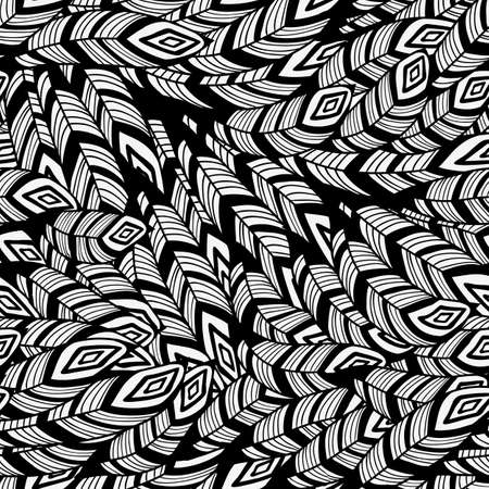 falcon: Vector Seamless Pattern with Feathers, seamless pattern in swatch menu Illustration