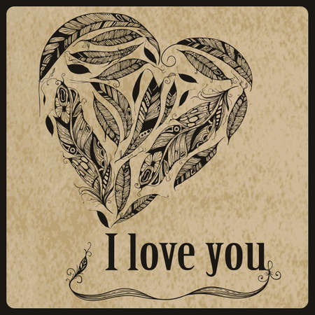 Vector Heart made of  Feathers with I love you standart AI font Birch std,  Native American Indian Style Vector