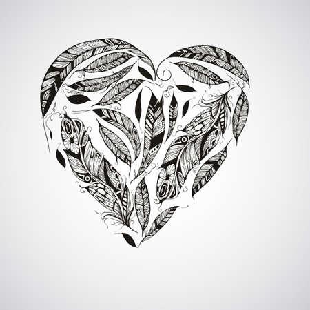 Vector Corazón de plumas, estilo nativo americano indio