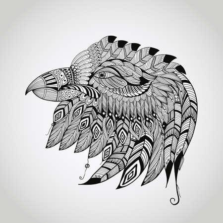 aguila americana: vector dibujado a mano tatuaje negro, muy detallado, cabeza del águila, americana nativa