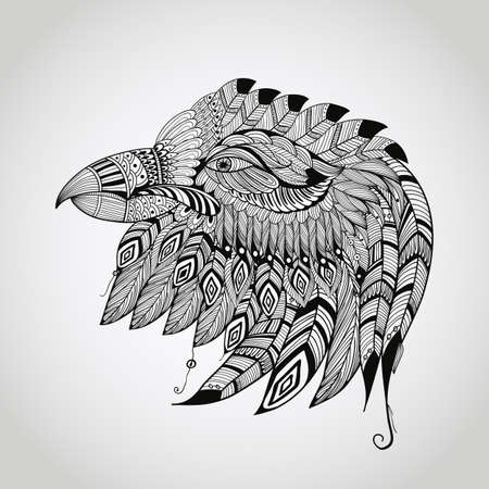 chief: vector tattoo black  hand drawn, highly detailed eagle head, native american style
