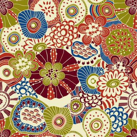 vector abstract seamless floral composition with doodle funky flowers, seamless pattern in swatch menu Illustration