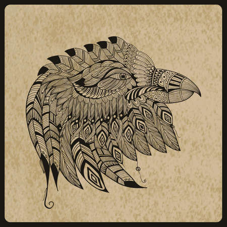 vector tattoo black  hand drawn, highly detailed eagle head, native american style, rough paper, texture