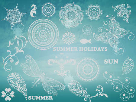 Summer Design elements on Background with blue sky and sea Vector