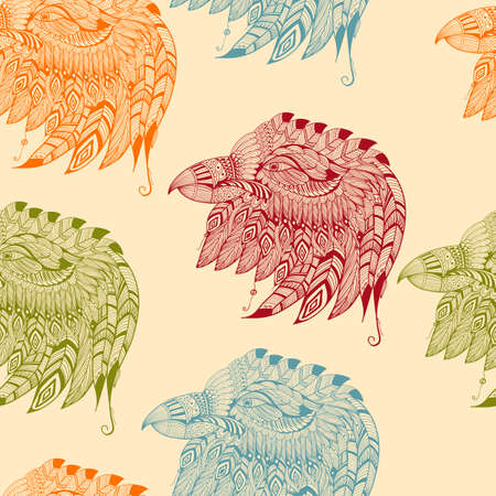 Seamless Pattern with Eagles Vector